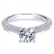 14k White Gold Gabriel & Co. 0.89ct Diamond Engagement Ring