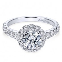 14k White Gold Gabriel & Co. 0.84ct Diamond Engagement Ring