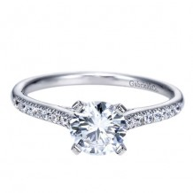 14k White Gold Gabriel & Co. 0.16ct Diamond Engagement Ring
