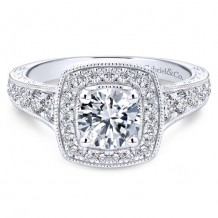 14k White Gold Gabriel & Co. 0.65ct Diamond Engagement Ring