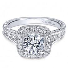 14k White Gold Gabriel & Co. 0.85ct Diamond Engagement Ring