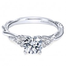 14k White Gold Gabriel & Co. 0.13ct Diamond Engagement Ring