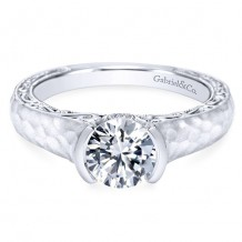 14k White Gold Gabriel & Co. 0.04ct Diamond Engagement Ring