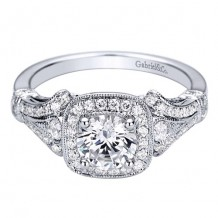 14k White Gold Gabriel & Co. 0.34ct Diamond Engagement Ring