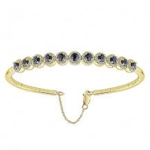 14k Yellow Gold Gabriel & Co. Sapphire and Diamond Bangle Bracelet