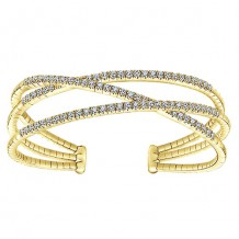 14k Yellow Gold Gabriel & Co. Diamond 3 Row Criss Cross Bangle Bracelet