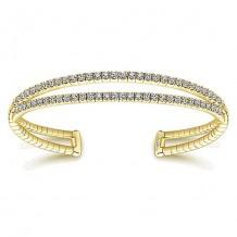 14k Yellow Gold Gabriel & Co. Diamond 2 Row Bangle Bracelet