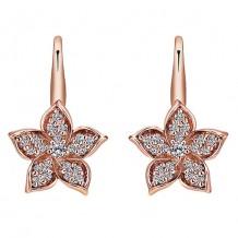 14k Rose Gold Gabriel & Co. Diamond Floral Drop Earrings