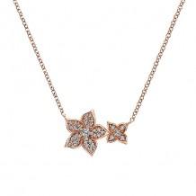 14k Rose Gold Gabriel & Co. Diamond Floral Necklace