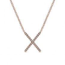 14k Rose Gold Gabriel & Co. Diamond Indulgence Bar Necklace