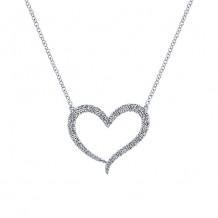 14k White Gold Gabriel & Co. Eternal Love Diamond Heart Necklace