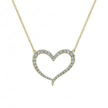 14k Yellow Gold Gabriel & Co. Eternal Love Diamond Heart Necklace