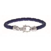 Sterling Silver 7.25 Inch Rhodium  Sterling Silver Shiny 5.5mm Lavender N appa Leather Bracelet with Fleur Di Lis On Lobster Clasp
