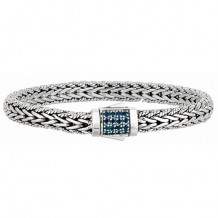 7mm Sterling Silver Narrow Wheat Patterned with Piping Trim 7.5  Inch Bracelet with Blue Sapphire Square Cluster at Clasp.