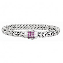 7mm Sterling Silver Wide Wheat Patterned 7.5 Inch Bracelet with Pink Sapphire Square Cluster at Clasp.