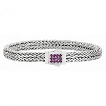 7mm Sterling Silver Narrow Tight Wheat Patterned 7.5 Inch Bracelet with Pink Sapphire Square Cluster at Clasp.