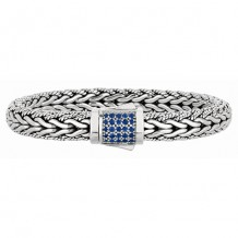 7mm Sterling Silver Wide Wheat Patterned with Piping Trim 7.5 Inch Bracelet with Blue Sapphire Square Cluster at Clasp.