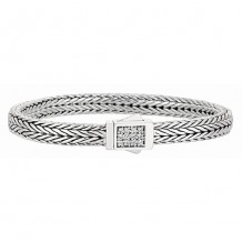 7mm Sterling Silver Narrow Tight Wheat Patterned 7.5 Inch Bracelet with White Sapphire Square Cluster at Clasp.