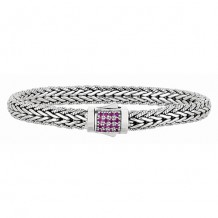 7mm Sterling Silver Narrow Wheat Patterned with Piping Trim 7.5  Inch Bracelet with Pink Sapphire Square Cluster at Clasp.