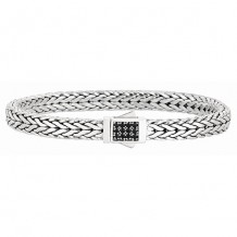 7mm Sterling Silver Wide Tight Wheat Patterned 7.5 Inch Bracelet wi th Black Sapphire Square Cluster at Clasp.