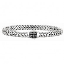 7mm Sterling Silver Wide Wheat Patterned 7.5 Inch Bracelet with Black Sapphire Square Cluster at Clasp.