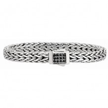 7mm Sterling Silver Wide Wheat Patterned 8.25 Inch Bracelet with Black Sapphire Square Cluster at Clasp.