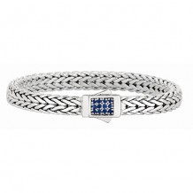 7mm Sterling Silver Wide Tight Wheat Patterned 7.5 Inch Bracelet with Blue Sapphire Square Cluster at Clasp.