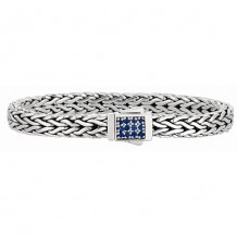 7mm Sterling Silver Wide Wheat Patterned 7.5 Inch Bracelet with Blue Sapphire Square Cluster at Clasp.