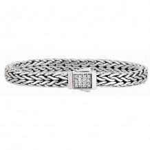 7mm Sterling Silver Wide Wheat Patterned 7.5 Inch Bracelet with White Sapphire Square Cluster at Clasp.