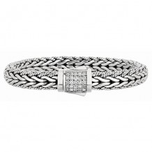 7mm Sterling Silver Wide Wheat Patterned with Piping Trim 7.5 Inch Bracelet with White Sapphire Square Cluster at Clasp.