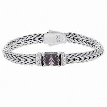 Sterling Silver 7.5 Inch 7x14mm Dome Weave Bracelet with 9x11 Faceted Amethyst and 1.5mm White Sapphire