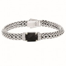 Sterling Silver 7.5 Inch 7x14mm Dome Weave Bracelet with 9x11 Faceted Black Onyx and 1.6 mm White Sapphire