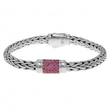 Sterling Silver 7.5 Inch 4x6mm Oval Weave Bracelet with Round Faceted 1.5mm Pink Sapphire Grid