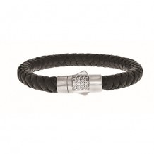Sterling Silver 7.25 Inch 8mm Round Weave Black Leather Bracelet with and 1.9mm White Sapphire Round Center Cluster and Box Clasp