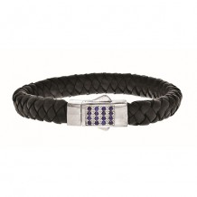 Sterling Silver 7.25 Inch 8x5mm Sqaure Black Leather Weave Bracelet with and 1.8mm Blue Sapphire Square Center Cluster and Box Clasp