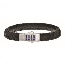 Sterling Silver 7.25 Inch 4x6mm Soft Square Weave Black Leather Bracelet with Round Faceted 1.8mm Blue Sapphire Rectangular Cluster Center and Box Clasp