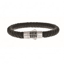Sterling Silver 7.25 Inch 8mm Round Weave Black Leather Bracelet with and 1.9mm Black Sapphire Round Center Cluster and Box Clasp