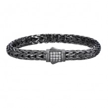 Sterling Silver 7.5 Inch Black Rhodium Finish Weave Bracelet with White Sapphire and Fancy Box Clasp