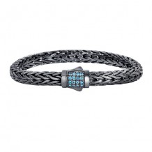 Sterling Silver 7.5 Inch Black Rhodium Finish Weave Bracelet with Swiss Blue and Fancy Box Clasp