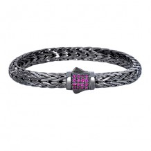 Sterling Silver 7.5 Inch Black Rhodium Finish Weave Bracelet with Dark Pink Sapphire and Fancy Box Clasp