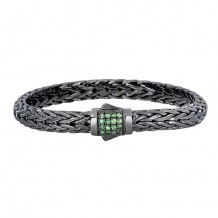 Sterling Silver 7.5 Inch Black Rhodium Finish Weave Bracelet with Tsvorite and Fancy Box Clasp