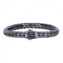 Sterling Silver 7.5 Inch Black Rhodium Finish Weave Bracelet with Black Sapphire and Fancy Box Clasp