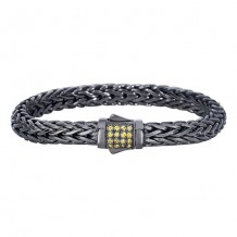 Sterling Silver 7.5 Inch Black Rhodium Finish Weave Bracelet with Yellow Sapphire and Fancy Box Clasp