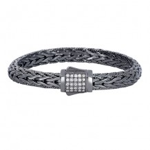 Sterling Silver 7.5 Inch Black Rhodium Finish 8mm Domed Weave Bracelet with Fancy Box Clasp with 1.7mm White Sapphire Cluster