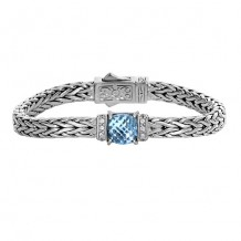 Sterling Silver 7.5 Inch 7x4mm Square Weave Bracelet with 9.8x9.6x5mm Blue Topaz Trimmed with 1.6mm White Sapphire Center and Fancy Box Clasp