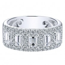 Gabriel & Co 14k White Gold 1.54ct Diamond Wedding Band