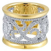 Gabriel & Co 14k Two Tone Gold 1.17ct Diamond Wedding Band
