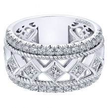 Gabriel & Co 14k White Gold 1.73ct Diamond Wedding Band