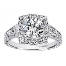 14k White Gold 0.59ct Diamond Gabriel & Co Halo Semi Mount Engagement Ring