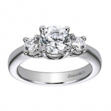 14k White Gold 0.30ct Diamond Gabriel & Co 3 Stone Semi Mount Engagement Ring